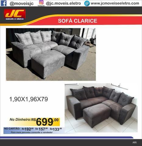 Promoção sofá clarice com puff r$699,00 reais