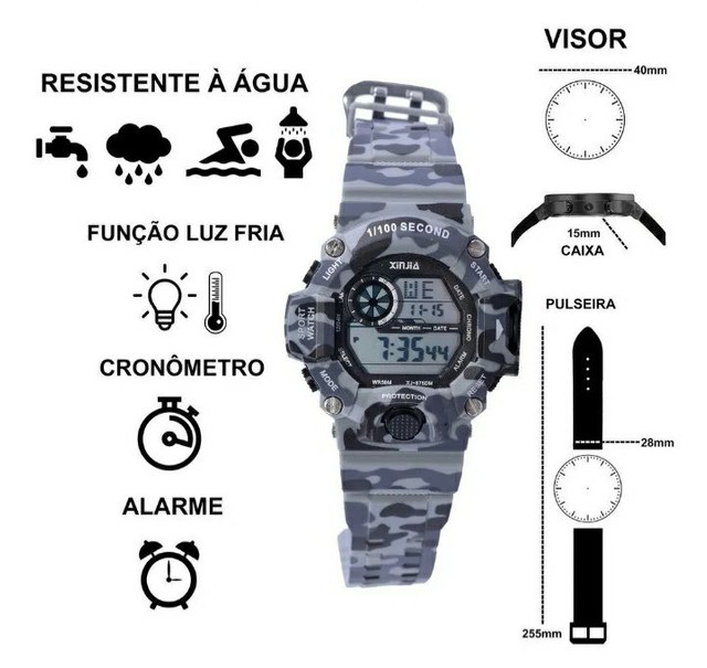 Relógio a prova d'água camuflado  - Foto 3