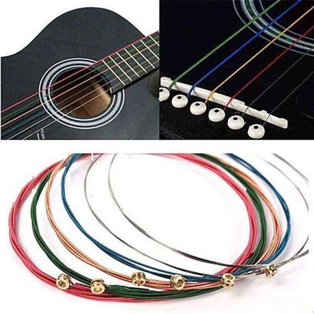 Jogo de Corda de Aço para Violão - Cordas Coloridas - Foto 4