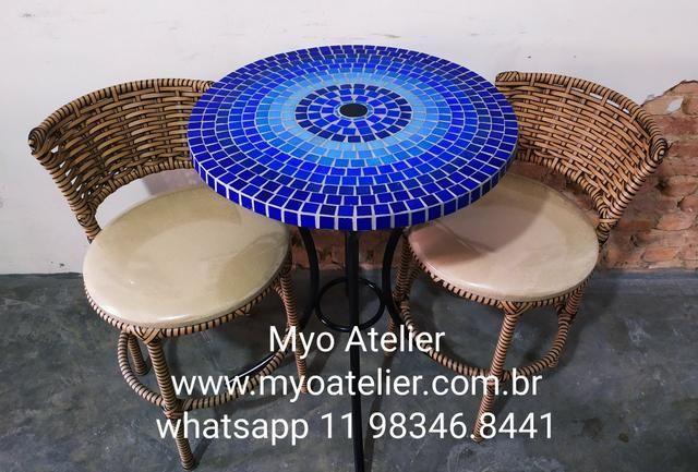 Móveis mesa mosaico, móveis varanda, móveis sacada, conjunto de mesa, mosaico - Foto 3