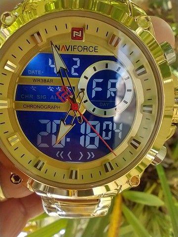 Relógio original naviforce! display digital e analógico, resistente a água, modelo 9163    - Foto 2