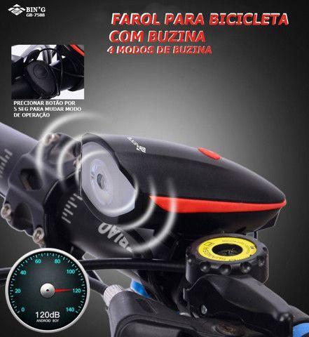 Farol De Led Para Bicicleta Com Buzina Recarregável - Foto 5
