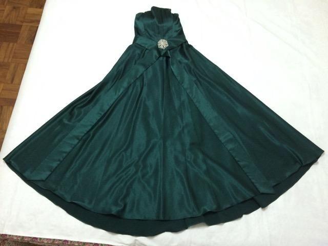 Vestido longo de festa verde escuro