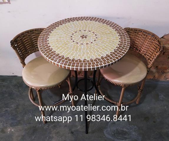 Móveis mesa mosaico, móveis varanda, móveis sacada, conjunto de mesa, mosaico