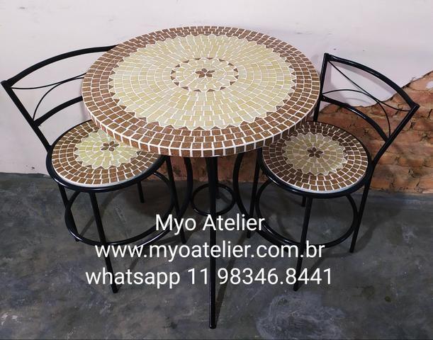 Móveis mesa mosaico, móveis varanda, móveis sacada, conjunto de mesa, mosaico - Foto 2