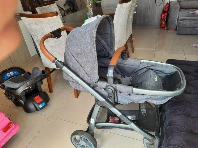 Carrinho bebe 3x1 luxo infanti epic lite couro travel system base isofix - Foto 2