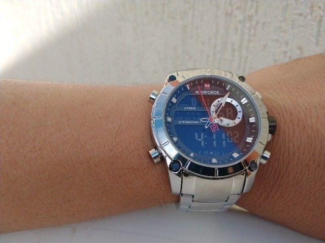 Relógio original naviforce! display digital e analógico, resistente a água, modelo 9163    - Foto 4