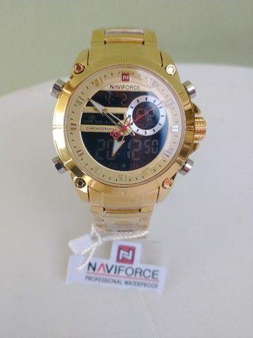 Relógio original naviforce! display digital e analógico, resistente a água, modelo 9163