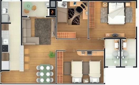 Apartamento 3 quartos semi-mobiliado, com duas vagas de garagem