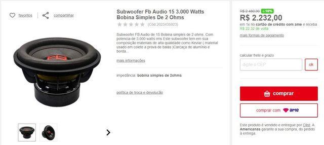 """Subwoofer subão profissional - Ntornado - FB Audio 3000 - 15"""" - Nunca tocou"""