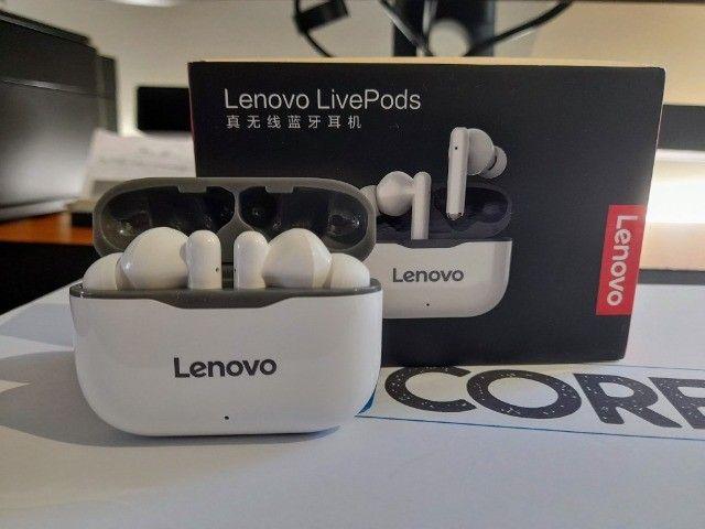 Fone de ouvido In-ear sem fio Lenovo LP1 branco e preto - Foto 2