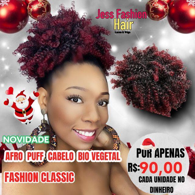 Afro Puff Bio vegetal/Aplique - Foto 3