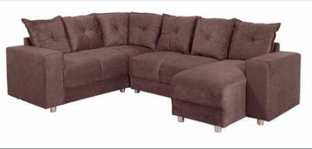 Sofá De Canto 5070 Com Chaise 6 Lugares Tecido Suede Luxo Produto Novo Na Embalagem