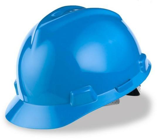 9 capacetes azul MSA V-Guard com carneira e jugular