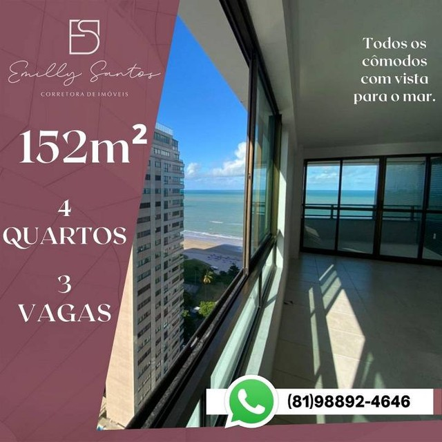 Apartamento para venda com 152 metros quadrados com 4 quartos em Pina - Recife - PE - Foto 3