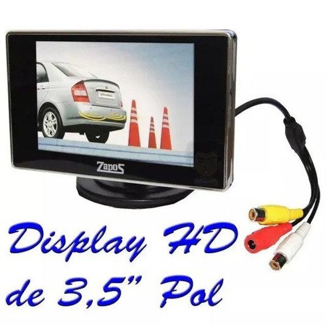Sensor estacionamento Preto 4 pontos c/ câmera e tela 3,5? 12v - Zapos - Caruaru - Foto 2