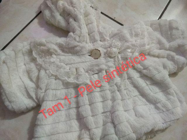 Vestido e casaco de pele infantil - Foto 2