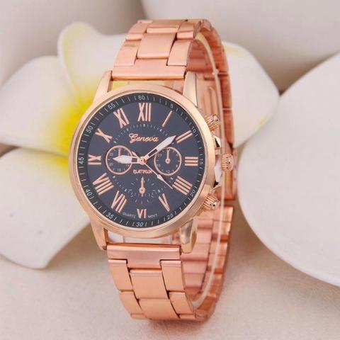 47b3097353b Relógio Geneva Rose Gold Preto - Bijouterias