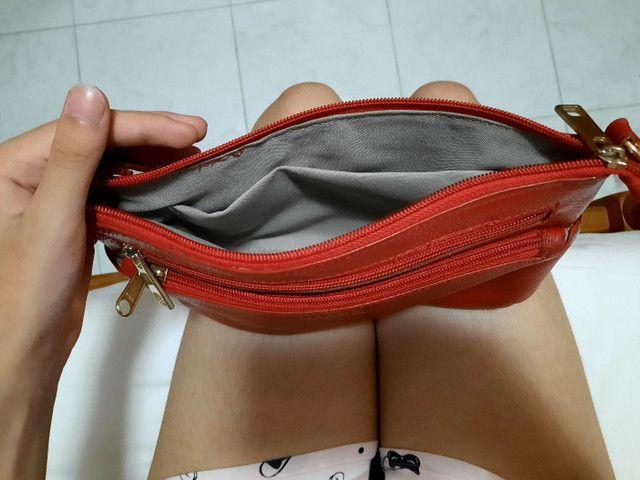 Bolsa vermelha-couro legítimo - Foto 3