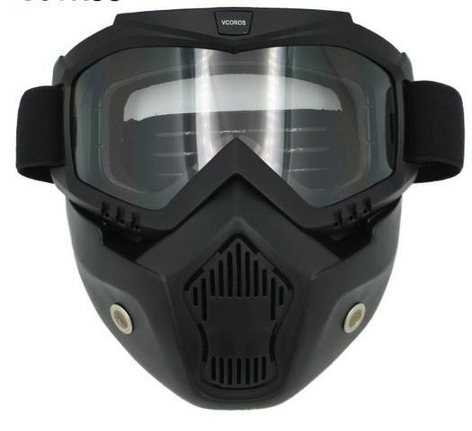 Máscara De Proteção Com Óculos Removível Para Capacete Motos - Peças ... 39b8a23ca1