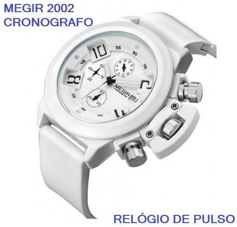 82b0636e7f4 Relógio Shock Megir 2002 Branco Original Importado Prova Dágua Aceito  Retirada No Local