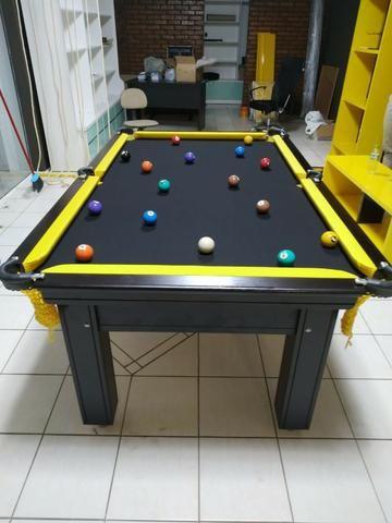 Mesa de Sinuca Tabaco Campo de jogo em Mdf Redinhas Amarelas Tecido Preto - Foto 4