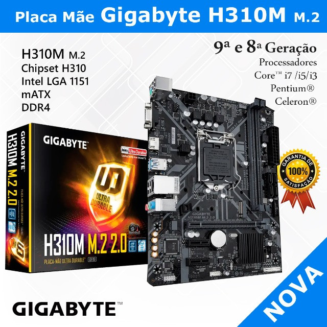 Placa Mãe Gigabyte H310M M.2, Chipset H310, Intel LGA 1151, mATX, DDR4
