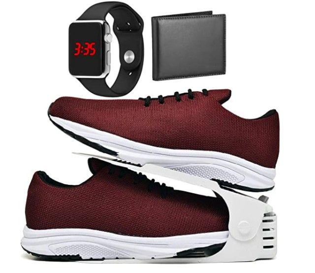 Acabando: Kit Tênis Esportivo Caminhada Com Organizador com Carteira e Relógio LED - Foto 3