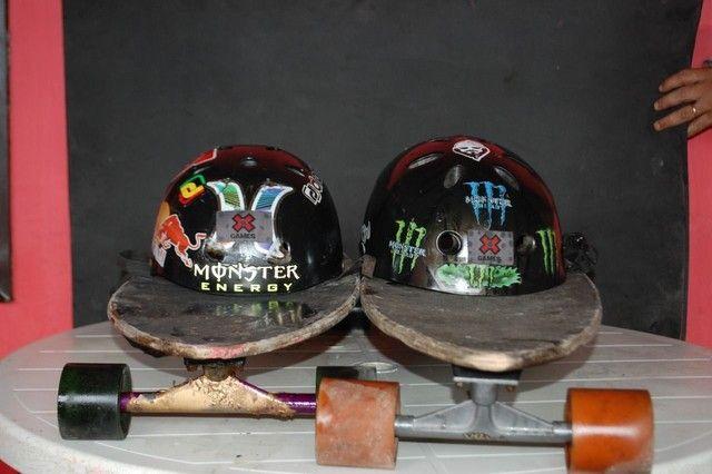 Long board com capacetes - Foto 2