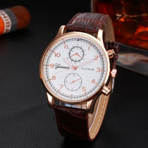 674cd25359f Relógio Geneva Platinum Luxo Rosé Marrom - Bijouterias
