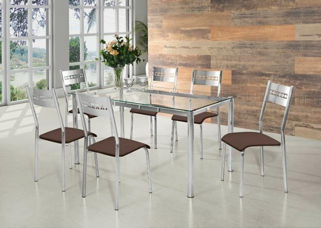 Mesa cromada com 6 cadeiras facosta só 998,00 a vista