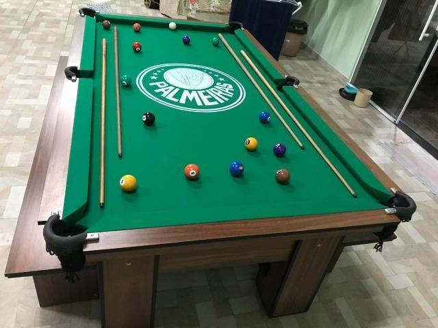 Mesa de Bilhar Cor Imbuia Tecido Verde Logo Palmeiras Mod. RZAX4275