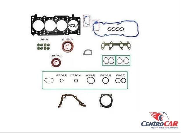 Jogo Junta Motor Fiat Palio Uno Vivace 1.0 8V 2010 Até 2015 - Aço Com Retentor Sem Volante