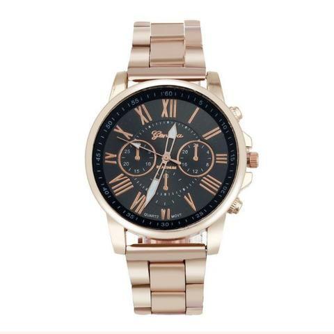 da43aaf7419 Relógio Geneva Rose Gold Preto - Bijouterias