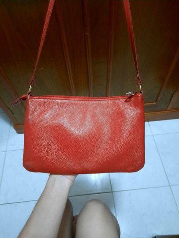 Bolsa vermelha-couro legítimo - Foto 2