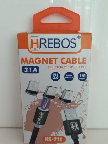 Cabo Magnético 3x1 Hrebos 1M -  V8/Type-C/Lightning IOS