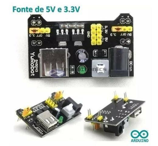 COD-AM20 Fonte De Alimentação 3.3v 5v Mb102 Protoboard Arduino - Pic - Automação - Roboti