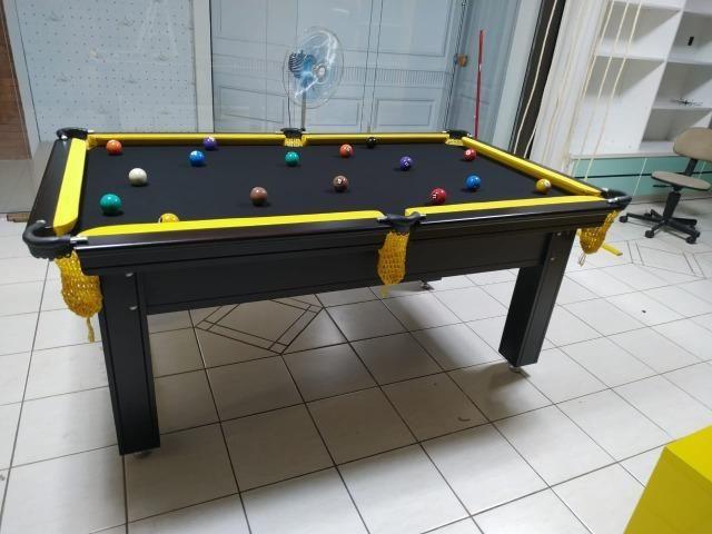 Mesa de Sinuca Tabaco Campo de jogo em Mdf Redinhas Amarelas Tecido Preto - Foto 3