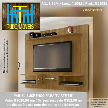 Painel para TV até 55 Polegadas  (entrega e montagem gratis)
