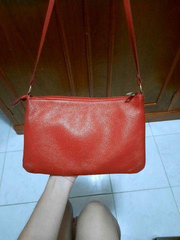 Bolsa vermelha - couro legítimo  - Foto 3