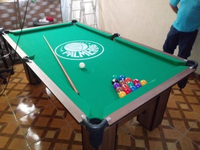 Mesa de Bilhar Cor Imbuia Tecido Verde Logo Palmeiras Mod. OESW2438 - Foto 3