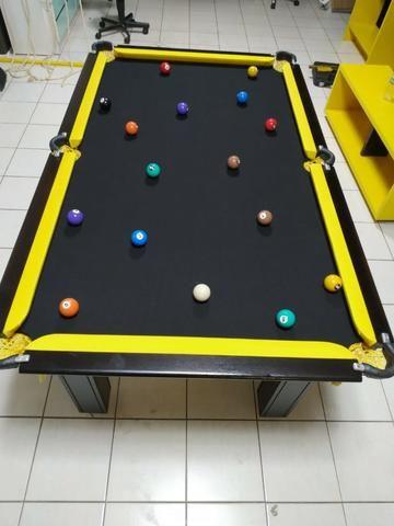 Mesa de Sinuca Tabaco Campo de jogo em Mdf Redinhas Amarelas Tecido Preto - Foto 2
