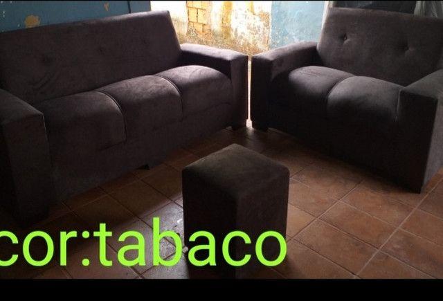 Sofa 2x3 lugares com puf almofadas