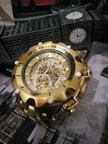 e3105064ff2 Relogio invicta híbrid dourado fundo esqueleto - Bijouterias ...