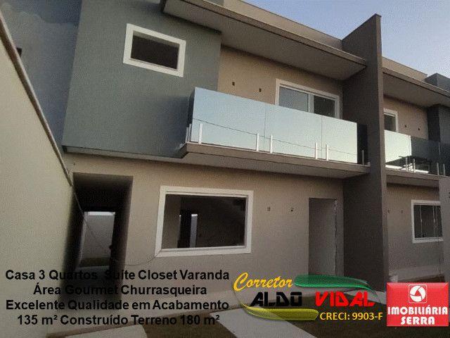 ARV 11. Casa 3 Quartos, Varanda, Suíte, Churrasqueira, Quintal Grande