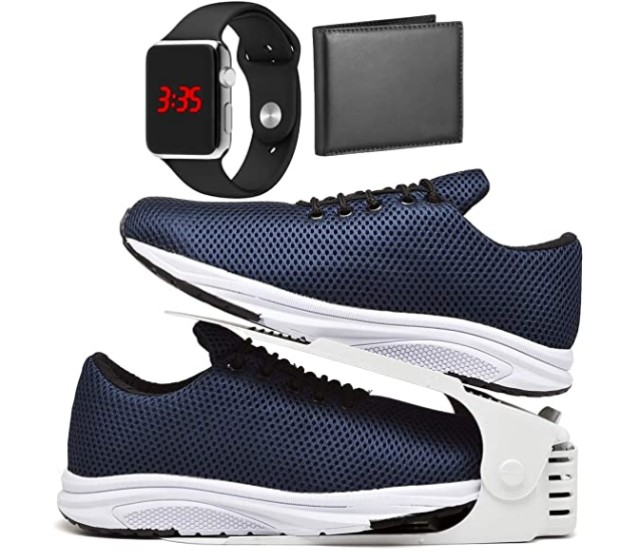 Acabando: Kit Tênis Esportivo Caminhada Com Organizador com Carteira e Relógio LED - Foto 2