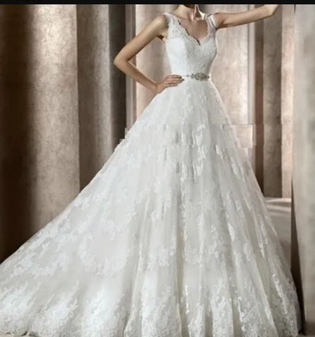 Vestido de Noiva Modelo Trapézio -40 a 44