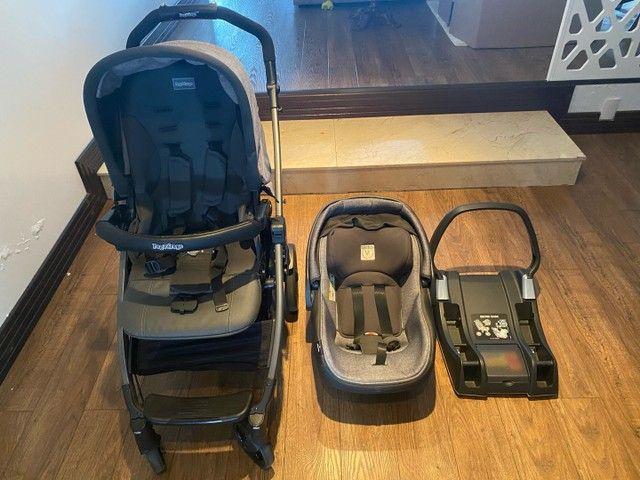 Conjunto Peg-Pérego Book 51: Carrinho, Bebê Conforto com a Base para veículo