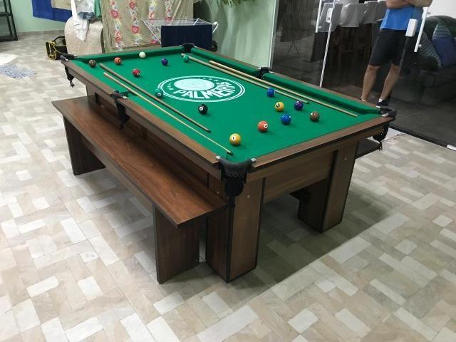 Mesa de Bilhar Cor Imbuia Tecido Verde Logo Palmeiras Mod. RZAX4275 - Foto 3