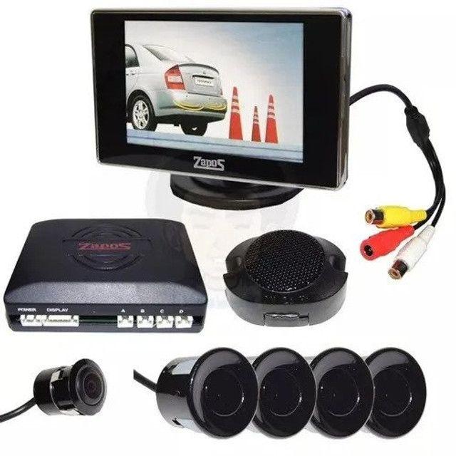 Sensor estacionamento Preto 4 pontos c/ câmera e tela 3,5? 12v - Zapos - Caruaru